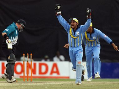 Indian wicketkeeper Vijay Dahiya celebrates the stumping of Roger Twose (left) in the final. AFP