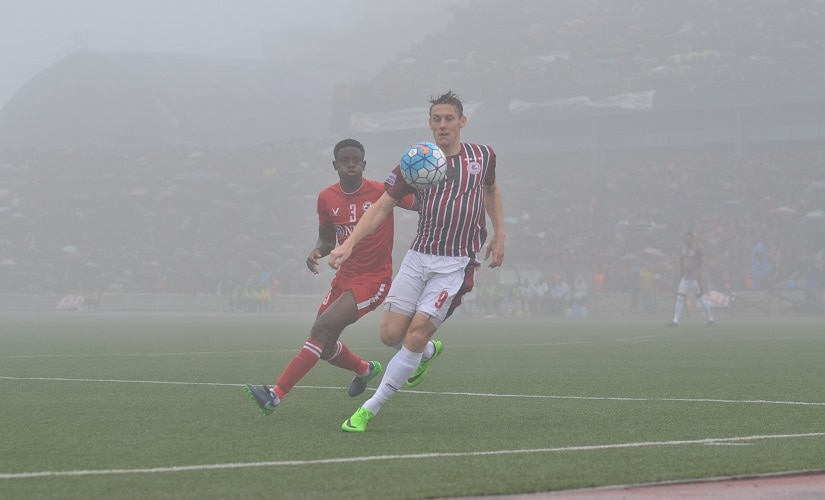 Despite heavy rain and fog affecting visibility in Aizawl's last home match against Mohun Bagan, the stadium was packed to the rafters with even a nearby hillock occupied. Image courtesy: AIFF media