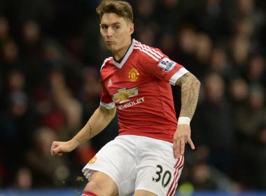 Manchester United's Uruguayan defender Guillermo Varela crosses the ball during the English Premier League football match between Manchester United and West Ham United at Old Trafford in Manchester, north west England, on December 5, 2015. / AFP PHOTO / OLI SCARFF