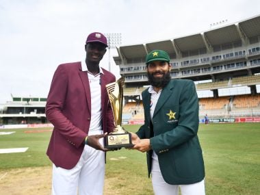 West Indies captain Jason Holder (L) with Pakistan skipper Misbah-ul-Haq. AFP