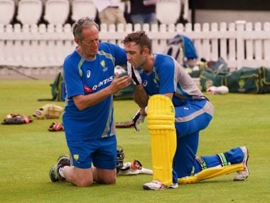 Glenn Maxwell gets treatment from team doctor Peter Bruker after he was struck