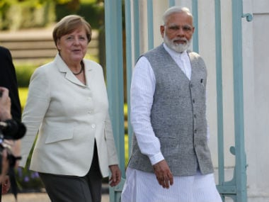 German Chancellor Angela Merkel (left) with Prime Minister Narendra Modi. Reuters