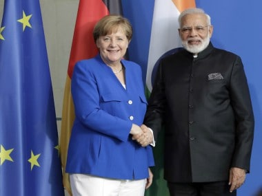 Prime Minister Narendra Modi and German chancellor Angela Merkel. AP