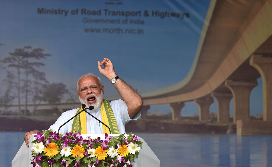 Indian Prime Minister Narendra Modi inaugurates the Dhola-Sadiya bridge across the River Lohit, a tributary of the River Brahmaputra, in Assam on May 26, 2017. The 9.15-kilometre-long bridge to connect Assam state with Arunachal Pradesh is the longest bridge in India. AFP