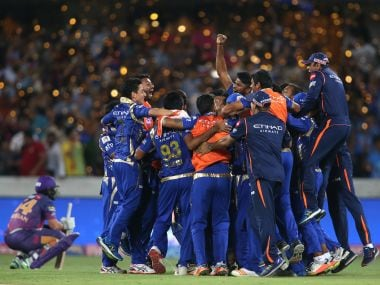 Mumbai Indians celebrate after beating Rising Pune Supergiant in the IPL final. Sportzpics