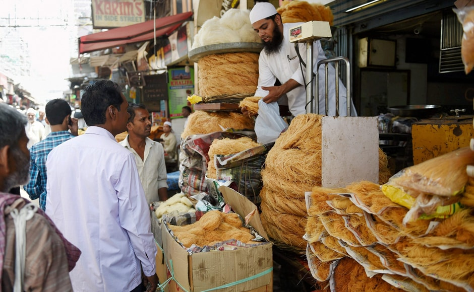 Mosques and aid organisations organise free meals for the public every night. People can be seen buying vermicelli during Ramadan, in Old Delhi. PTI