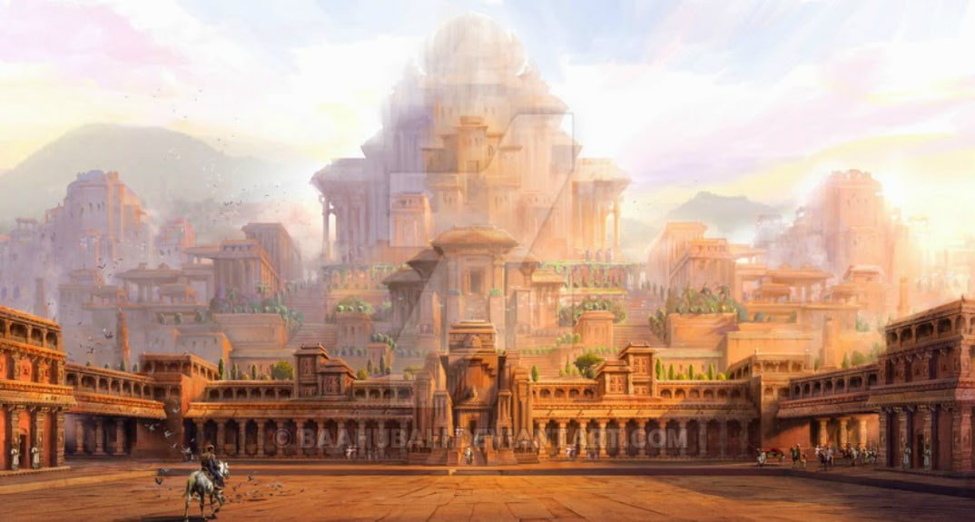 Mahishmati palace from the film Bahubali (also known as Baahubali) directed by SS Rajamouli. Photo - YouTube