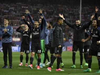 Real Madrid's players celebrate making the Champions League final. AFP
