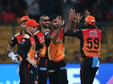 Sunrisers Hyderabad players congratulate Bhuvneshwar Kumar after he ran out Yusuf Pathan during the Eliminator on Wednesday. Sportzpics/IPL