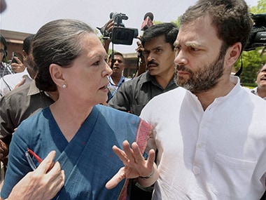 Congress chief Sonia Gandhi and party vice-president Rahul Gandhi. PTI