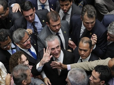 File image of Brazil's president Michel Temer (center)  among national senators. AP