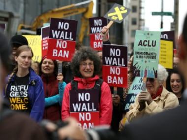 People protest US President Donald Trump's travel ban outside of the US Court of Appeals in Seattle, Washington (representative image) . Reuters