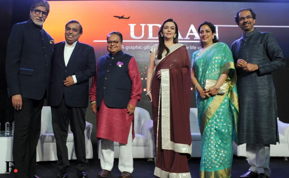 Photo call: Amitabh Bachchan and Mukesh Ambani; Nita Ambani with Rashmi and Uddhav Thackeray. Photo: Sachin Gokhale/Firstpost