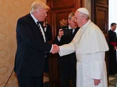 Pope Francis meets with President Donald Trump in Vatican. AP