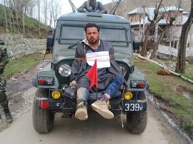 Farooq Ahmed Darr tied on a Amry jeep. Photo Courtesy - Suhail Bhat