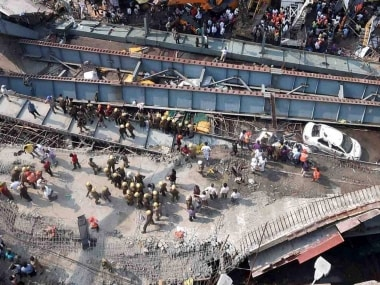 Rescue work in progress as an under-construction flyover collapsed on Vivekananda Road in Kolkata. PTI
