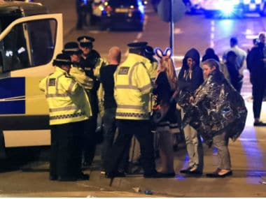 UK police investigate the Manchester blast. AP