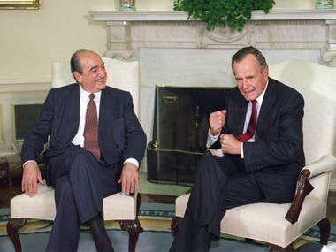 Former Greece prime minister Constantine Mitsotakis with then-US president George HW Bush in. AP