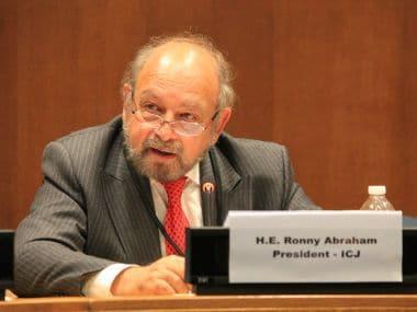 File image of ICJ President Judge Ronny Abraham. Image courtesy: Twitter