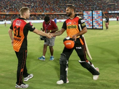 David Warner (L) and Shikhar Dhawan have been phenomenal for Sunrisers Hyderabad at the top of the order. Sportzpics