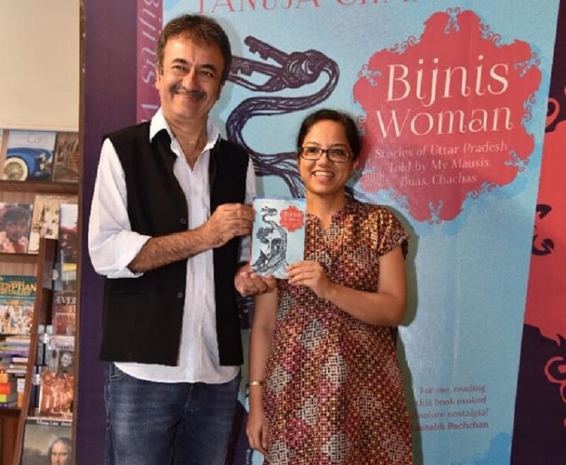 Tanuja Chandra with Rajkumar Hirani at the launch of her book, Bijnis Woman, in Mumbai. Image via Facebook