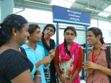 The transgenders employed by the KMRL at Ambattukavu metro station.