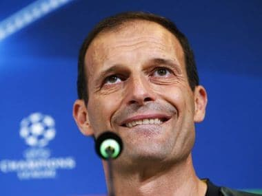 Juventus' coach Massimiliano Allegri speaks during a press conference on Media Day for the UEFA Champions League football match final Juventus versus Real Madrid on May 29, 2017 at the Juventus Stadium in Turin. The UEFA Champions League football match final Juventus versus Real Madrid will be played on June 3. / AFP PHOTO / Marco BERTORELLO