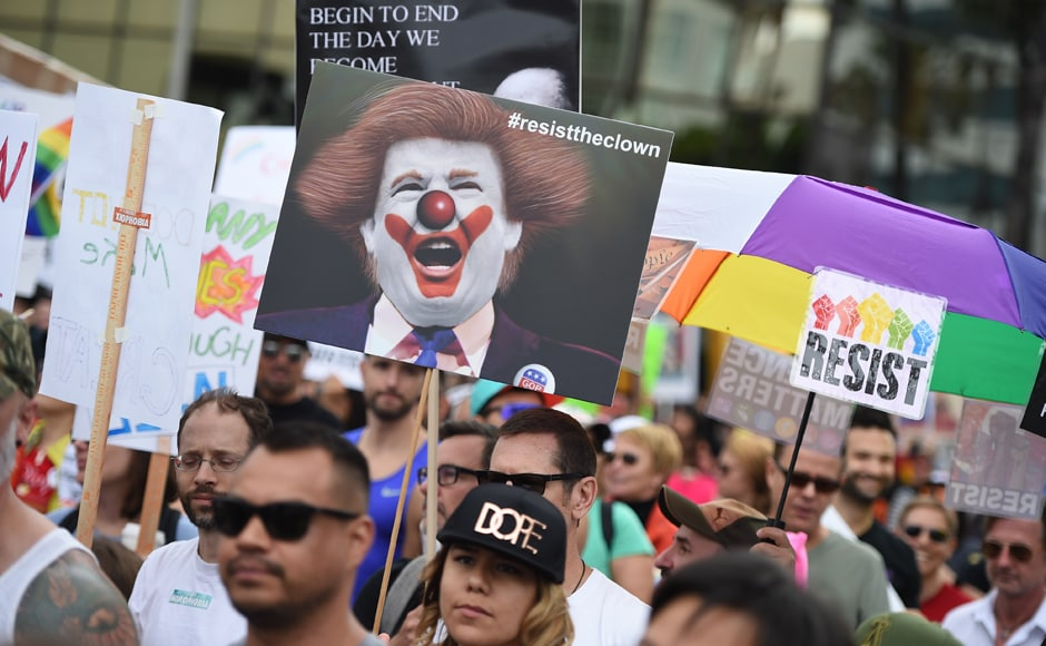 The Gay Pride Parade was replaced by a resist marchon 11 June 2017 and was endorsed by virtually every major national advocacy group working on behalf of LGBT Americans. AFP
