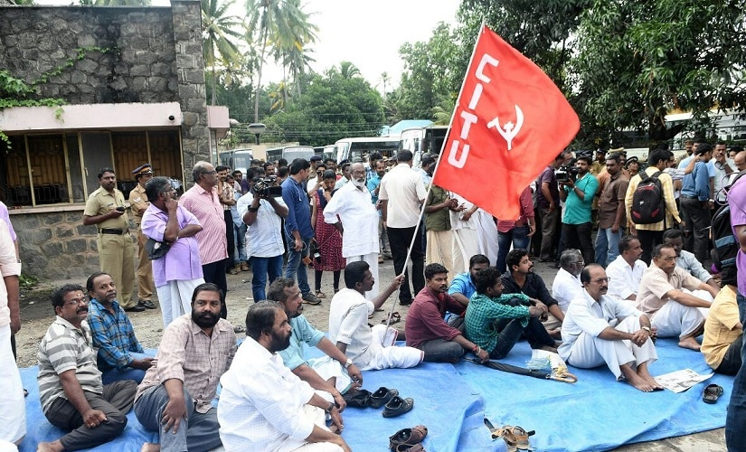 CPM workers led by Sivankutty organised a shutdown in Trivandrum. Firstpost/Ashraf Padanna