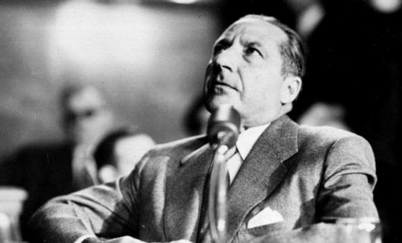 Frank Costello, gambling figure, was a witness at the Senate Committee Investigating Crime hearing at Federal Courthouse in New York. AP