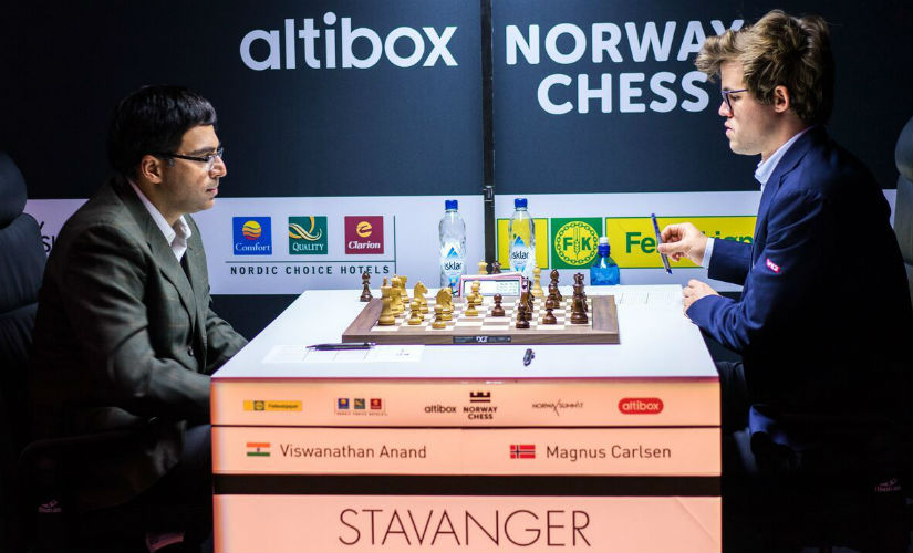The World Championship match-up of 2013 and 2014 was seen again. Anand managed to draw his game against Carlsen. Image courtesy: Lennart Ootes