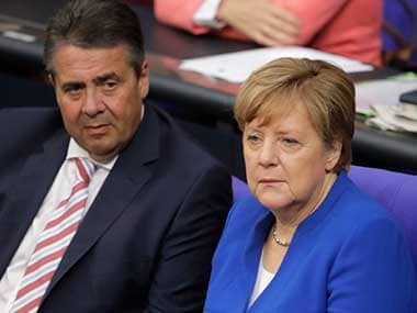 File image of German chancellor Angela Merkel and Foreign Minister Sigmar Gabriel. AP
