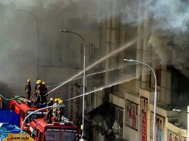 A huge fire gutted a leading textile showroom in Chennai's downtown T Nagar.PTI