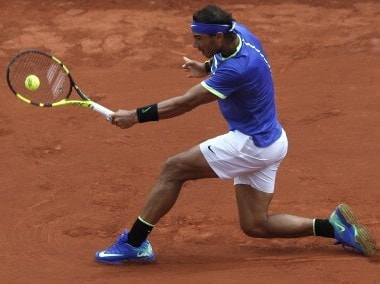 Rafael Nadal in action at Roland Garros. AP
