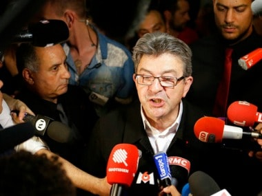 Far-left ex-presidential candidate and candidate in the parliamentary elections Jean-Luc Melenchon speaks with the medias after winning his race for a parliamentary seat in Marseille southern France, Sunday, June 18, 2017. French voters are casting ballots Sunday in the final round of parliamentary elections that could clinch President Emmanuel Macron's hold on power, as his fledgling party appears set to rout mainstream rivals and turn politics as usual on its head.(AP Photo/Claude Paris)