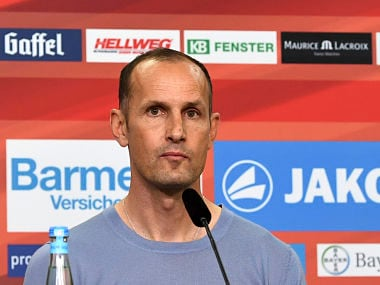 New Bayer Leverkusen coach,, Heiko Herrlich, attends a news conference in Leverkusen, Germany, Friday, June 9, 2017. The Bundesliga club says the 45-year-old Herrlich, has signed a two-year deal. (Federico Gambarini/dpa via AP)