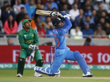 Hardik Pandya launches one into the stands against Pakistan. Reuters