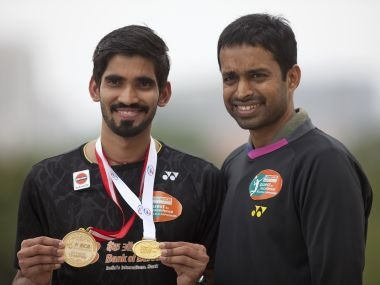 Srikanth Kidambi along with his coach Pullela Gopichand. AP