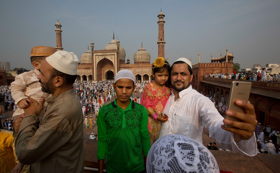 Large congregations of Eid prayers were held across India. Worshippers take a selfie after offering Eid-ul-Fitr prayers at the Jama Masjid mosque in New Delhi, India. AP