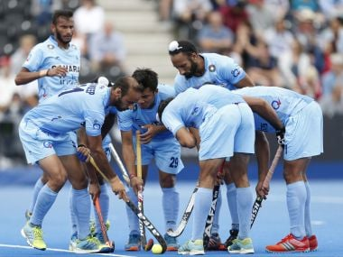 India form a huddle during the World Hockey League Semi-Final match against Canada. AP