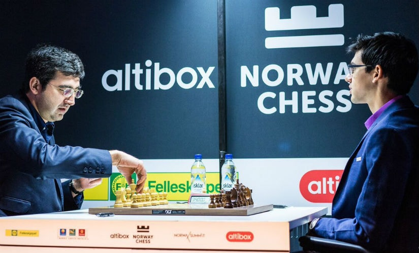 Kramnik won a complicated game against Giri in just 20 moves! Image courtesy: Lennart Ootes