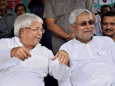 Lalu Prasad Yadav and Nitish Kumar. PTI