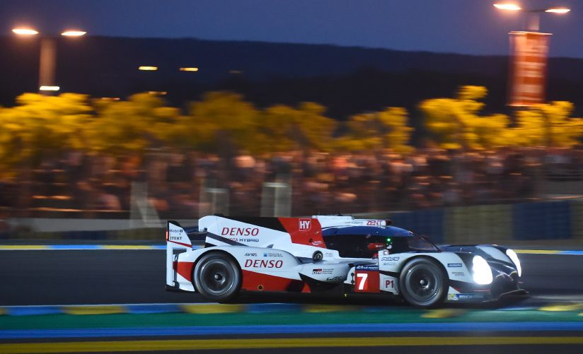 Japan's pilot Kamui Kobayashi drives his Toyota TS050 Hybrid N°7 to clock the fastest time during a first qualifying practice session of the Le Mans 24 Hours race. AFP