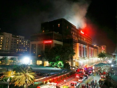 Smoke rising from the Resorts World Manila complex, Philippines after a terror attack. AP