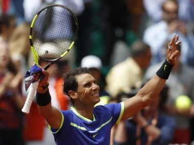 Spain's Rafael Nadal celebrates his win after defeating compatriot Roberto Bautista Agut during their fourth round match of the French Open tennis tournament at the Roland Garros stadium, Sunday, June 4, 2017 in Paris. Nadal won 6-1, 6-2, 6-2. (AP Photo/Petr David Josek)