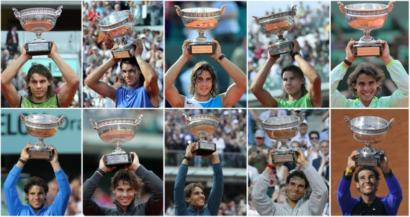 A collage of Rafael Nadal posing with the Muskeeters trophy during his ten French Open victories. AFP