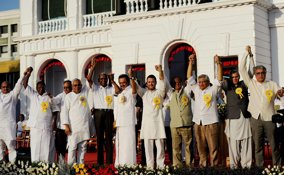 A galaxy of opposition leaders descended on Tamil Nadu capital to attend DMK chief M Karunanidhi's 94th birthday celebrations and diamond jubilee of his legislative carrer, amid efforts to forge a broad-based alliance ahead of the presidential poll. PTI
