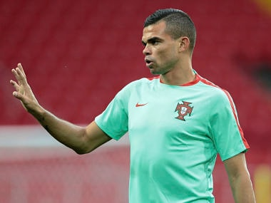 Portugal's Pepe during a training session at the Spartak Stadium in Moscow, Russia. AP