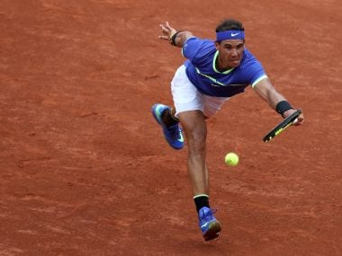 Rafael Nadal returns to Stan Wawrinka during their French Open final. Reuters