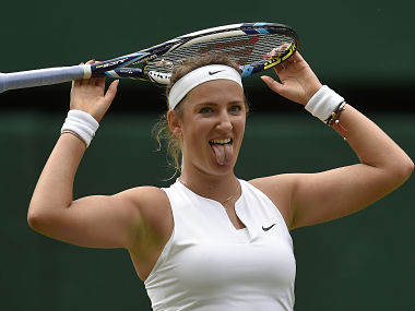 Victoria Azarenka of Belarus reacts during her match against Serena Williams of the U.S.A. at the Wimbledon Tennis Championships in London, July 7, 2015. REUTERS/Toby Melville - RTX1JFTU